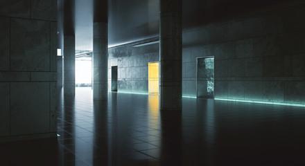 Dark hallway wiith sunlight
