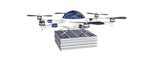 flying drone with photovoltaic panel