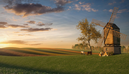 3d Rendering of Fields with a Windmill at Dawn
