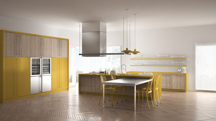 Minimalistic modern kitchen with table, chairs and parquet floor, white and yellow interior design