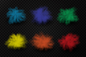 Vector realistic isolated paint powder explosions on the transparent background. Realistic colorful smoke effect for decoration.