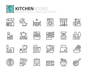 Outline icons about kitchen
