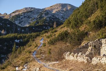 Footpath in the Komna mountain range, Julian Alps.