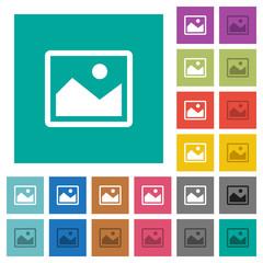 Single picture square flat multi colored icons