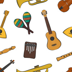 Vector cartoon seamless pattern with musical instruments for gift wrapping paper, covering and branding on the white background. Concept of music.