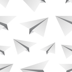 Vector isolated cartoon seamless pattern with paper airplane for gift wrapping paper, covering and branding on the white background.