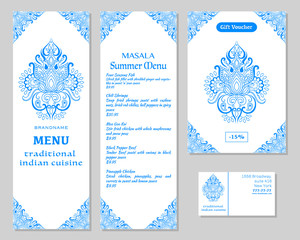 Indian Food. Restaurant menu template. Food flyer. Business card. Vector.