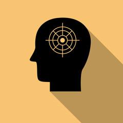 Black human mind icon,purpose symbol with long shadow