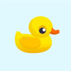 Rubber Duck Toy. Minimalistic Flat Color Icon. Cartoon vector