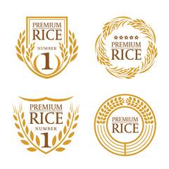 Orange brown paddy rice organic natural product banner logo vector design