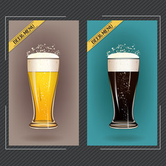Beer glass mug foam bubble vector illustration, isolated. Pub bar beer banner. Good as a template of advertisement.