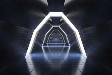 Długi korytarz w statku kosmicznym 3D