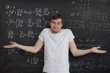 Young student is doing math exam and dont know how to solve difficult mathematical problem.