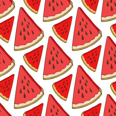 Watermelon seamless pattern. Bright fabric texture. Fashion vector print for wallpaper, wrapping, packaging, textile, scrapbook, fabric, menu