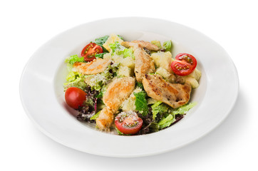 Restaurant food closeup - salad with roasted chicken fillet and