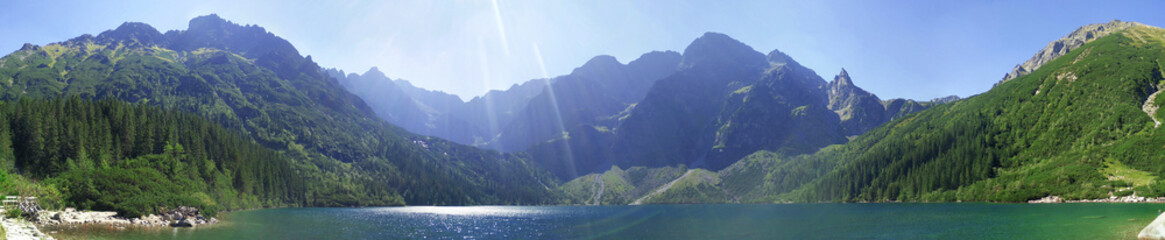 Fototapeta Panorama from Morskie Oko and Rysy in Tatra Mountains in Poland during lovely sunny weather obraz