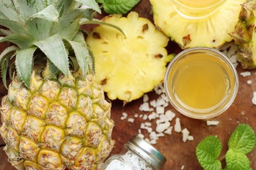 fresh pineapple with juice