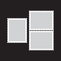Blank postage stamp flat Icon on black background. Vector illustration