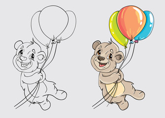 Bear with balloons Color and black and white. For coloring the book