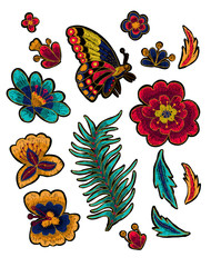 Butterfly with flowers vector embroidery elements.