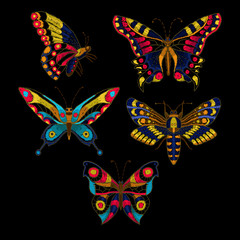 Butterfly vector embroidery for textile design