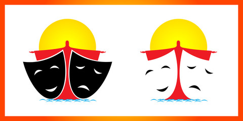 Theatrical masks, sun and man in water
