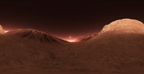 Panorama of Mars sunset, environment HDRI map. Equirectangular projection, spherical panorama. Martian landscape, 3d rendering