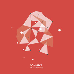 Abstract polygonal with connecting dots and lines. Connection science background