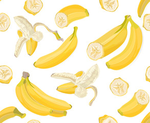 Seamless hand drawn tropical pattern with banana fruit on white background