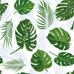 Seamless hand drawn tropical pattern with palm leaves in blue color, jungle exotic leaf on white background