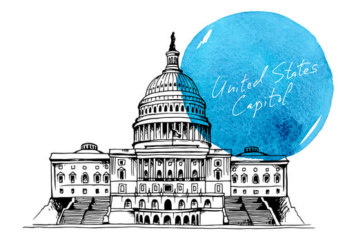 Capitol Building in Washington DC, USA, background  hand drawn watercolor splash with text