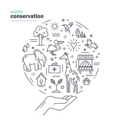 Wildlife conservation. Modern thin line design with animals, elements of environment and ecology symbols. Save the natural fund of Earth. Vector illustration on white background.