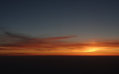 Sunrise seen from airplane