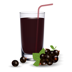 Set Of Blackcurrant Juice And Fresh Ripe Berries Isolated On A White Background.