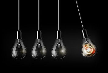 Glowing abstract futuristic light bulb technology among turned off light bulbs on dark background, perpetual Motion concept, an analogy with Newton's cradle, vector illustration