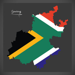 Gauteng South Africa map with national flag illustration