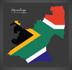 Mpumalanga South Africa map with national flag illustration