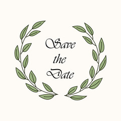 Floral rustic frame, simple  save the date floral wreaths on white background