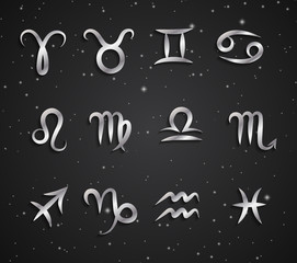 Set of hand drawing zodiac symbols, silver icons with shadow on the background of black starry sky