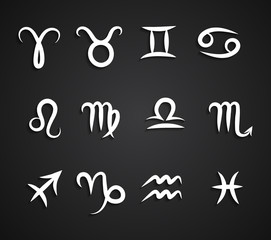 Set of hand drawing zodiac symbols, white icons with shadow on the black background