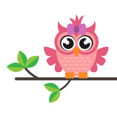cartoon owl girl on a branch
