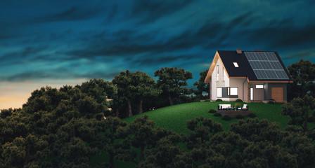 Casa con pannelli solari, energia rinnovabile