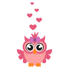 cartoon owl girl with heart