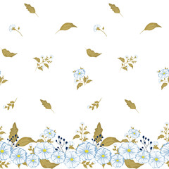 Seamless floral pattern. Background in small blue flowers on a white background for textiles, fabric, cotton fabric, cover, wallpaper, stamp, gift wrap, postcard.