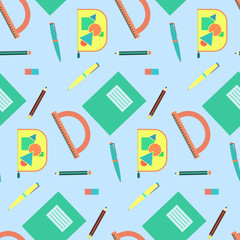 Cute cartoon school equipment seamless pattern. Nice colorful texture with education tools for kids textile, background, wallpaper, banner, cover, surface