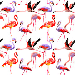 Tuinposter Flamingo Sky bird flamingo pattern in a wildlife by watercolor style. Wild freedom, bird with a flying wings. Aquarelle bird for background, texture, pattern, frame, border or tattoo.