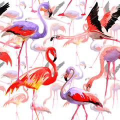 Canvas Prints Flamingo Sky bird flamingo pattern in a wildlife by watercolor style. Wild freedom, bird with a flying wings. Aquarelle bird for background, texture, pattern, frame, border or tattoo.