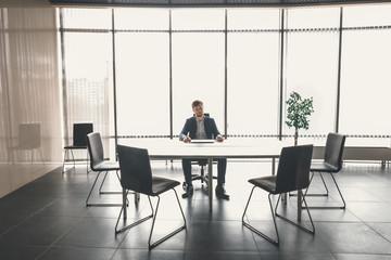 View of a Boss heading a business reunion