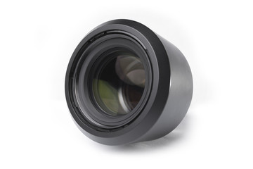 Photo lens close-up isolated on white background