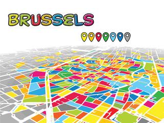 Brussels, Belgium, Downtown 3D Vector Map